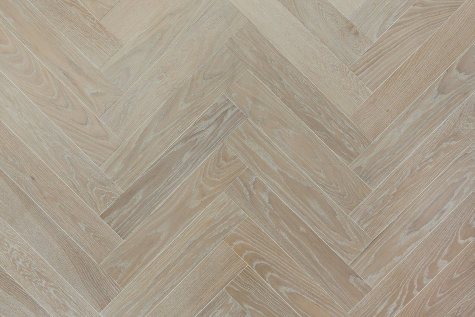 Wire Brushed Engineered Oak Herringbone Parquet Flooring